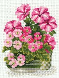 RIOLISクロスステッチ刺繍キット No.1115 「Petunias & Primroses」 (ペチュニアとプリムローズ) 【海外取り寄せ/納期30〜60日程度】