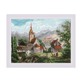 RIOLISクロスステッチ刺繍キット No.1701 「Monastery Shonenvert after engravings of the XIX」(19世紀の修道院) 【海外取り寄せ/納期30〜60日程度】
