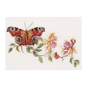 """努尔十字绣刺绣套件 439 号""""蝴蝶金银花""""(蝴蝶和金银花) 荷兰西娅-gouvernur"""