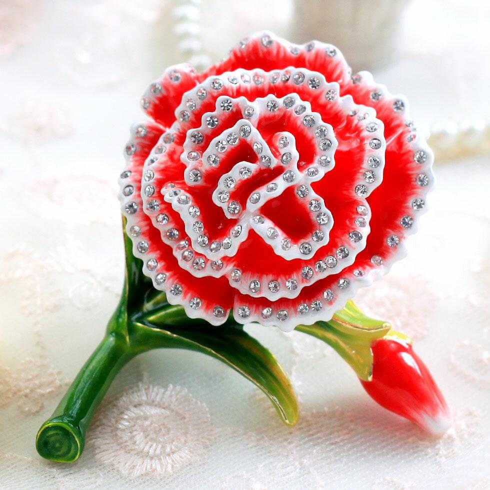ジュエリーボックス マザーズフラワー カーネーション 花束 一輪 プリザーブドフラワー 造花 枯れないカーネーション 花 置物 卒業 入学 可愛い クリスマス 新生活 ギフト