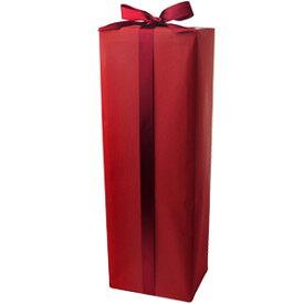 [ラッピング] ギフト1本箱 包装紙「赤」+リボン