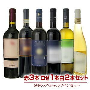 【送料無料】1本あたり2700円!6月のスペシャルワインセット赤4本白2本【北海道・沖縄・離島は追加送料がかかります】