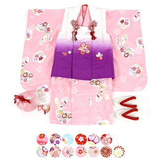 Product made in arrival at kimono shop overcoat set celebration kimono Seven-Five-Three Festival Doll's Festival festival New Year holidays prayer prayer polyester kimono set overcoat coat sandals bag drawstring purse hair ornament Japan 3 years old 3 ye
