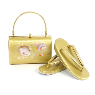 The sandals bag set sandals 23.5cm gold and silver gold silver 合皮着物 fashion set coming-of-age ceremony New Year holidays full dress wedding ceremony betrothal present entrance ceremony celebration graduation ceremony dressing four circle woman thing woma
