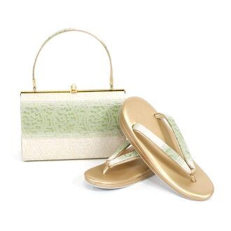 Shop dealing in kimono fabrics gold eagle carefully made pure silk fabrics obi material sandals bag set sandals 24.0cm gold gold white kimono fashion set coming-of-age ceremony New Year holidays full dress wedding ceremony betrothal present entrance cere
