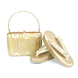 Shop dealing in kimono fabrics gold eagle carefully made pure silk fabrics obi material sandals bag set sandals 24.0cm L size gold kimono fashion set coming-of-age ceremony New Year holidays full dress wedding ceremony betrothal present entrance ceremony