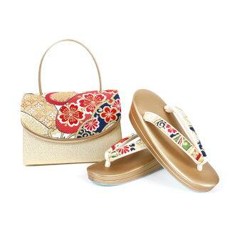 Shop dealing in kimono fabrics pure silk fabrics obi material sandals bag set sandals 24.0cm kimono fashion coming-of-age ceremony New Year holidays gold gold full dress large size adjustable size 振袖留袖訪問着附下結婚式結納入学式 celebration graduation ceremony dressin