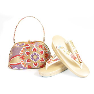 Shop dealing in kimono fabrics pure silk fabrics obi material sandals bag set sandals 24.5cm kimono fashion coming-of-age ceremony New Year holidays gold gold full dress large size adjustable size 振袖留袖訪問着附下結婚式結納入学式 celebration graduation ceremony dressin