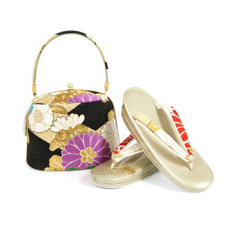 Product made in shop dealing in kimono fabrics pure silk fabrics obi material sandals bag set sandals 23.5cm kimono fashion coming-of-age ceremony New Year holidays gold gold 正装振袖留袖訪問着附下結婚式結納入学式 celebration graduation ceremony dressing four circle woman