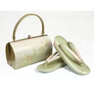 Lady's impossibility for the sandals bag set sandals 24cm gold gold 合皮草履 back set four circle adjustable size woman thing woman whom there is shop dealing in kimono fabrics reason in