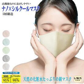 マスク 「ナノ×シルクールマスク」高機能 夏用 夏高機能なのに息がしやすい 接触冷感 N95級 ノーズワイヤー 洗える 血色カラー 抗ウイルス 日本製 1枚 小杉織物 正規店 究極の息ラク セリシン いとから コスギ 抗菌 送料無料 ナノマスク 紫外線99.2%カット シルク