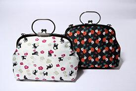 チェーン付きがま口バック(猫に梅 椿) ポーチ バッグ 日本製 和小物 和装小物 収納 和柄 おしゃれ かわいい 和風 ショルダーバック 浴衣から洗える着物まで幅広く使えます 卒業式の袴にもOK メール便不可 送料無料