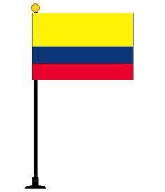 コロンビア国旗 1本セット[ミニフラッグ・ポール(270mm)・吸盤付き・高級テトロン製・国旗サイズ105×157mm]安心の日本製
