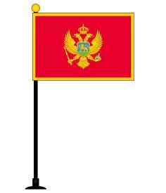 モンテネグロ 国旗 ミニフラッグ 旗サイズ10.5×15.7cm テトロンスエード製 ポール27cm 吸盤のセット 日本製 世界の国旗シリーズ