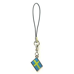 ストラップ スウェーデン 国旗柄 チャーム部分サイズ約1cm×1.5cm