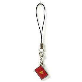 ストラップ ベトナム 国旗柄 チャーム部分サイズ約1cm×1.5cm