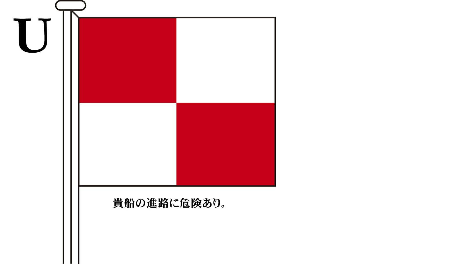 国際信号旗 文字旗 Alphabetical Flags【U】[ヨット用:30×39cm・木綿]