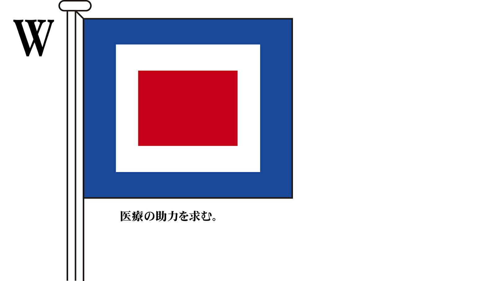 国際信号旗 文字旗 Alphabetical Flags【W】[ヨット用:30×39cm・木綿]