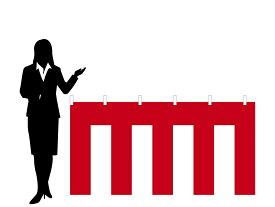 店頭装飾紅白幕[ポリエステルポンジ・H90cm×W540cm/3間]安心の日本製