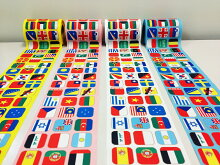 世界の国旗ロングリボン【カラー:4配色・ポリエステルポンジ製・10cm×20m]・安心の日本製