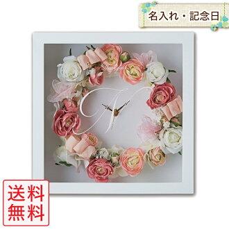 Hold An Elegant Lease Clock Sugar Rose White Box Pink Garland Table Clock Name Initial Artificial Flower Arrangement Present Gift Flower Clock Wedding