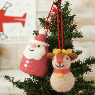 christmas ornament santa reindeer handmade kit hamanaka wool kit wool felt christmas makiko arai - Handmade Felt Christmas Decorations