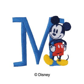 ディズニー ミッキーマウス イニシャルワッペン・M 4.5×4cm アップリケ アイロン シール 手芸用品 刺しゅう 刺繍 手作り キッズ 子供 入学 入園 Mickey Disney ゆうパケット送料275円