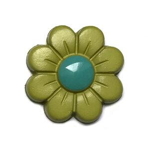 フランス製 ボタン18mm フラワー グリーン AH