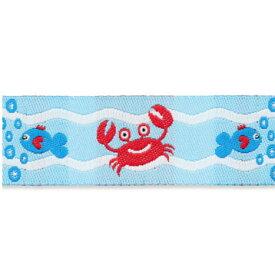ドイツデザイン ジャカードリボン1m 蟹と魚 in ウェーブ UK