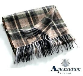 Aquascutum【アクアスキュータム】イタリア製 カシミヤ100%カシミヤマフラーチェック柄ベージュ×グリーン系
