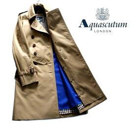 Aquascutum【アクアスキュータム】日本製レディーストレンチコート脱着可能ウールライナー付きハニーベージュ