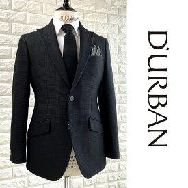 D'URBAN【ダーバン】日本製シルク混ウールジャケット織柄 ピークドラペルブラック 黒総裏仕立て