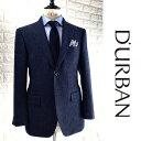 D'URBAN【ダーバン】日本製ツイードジャケットハンドトゥースネイビー 紺総裏仕立て