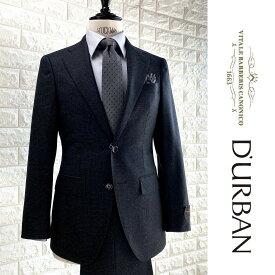 D'URBAN×CANONICO【ダーバン×カノニコ】日本製(イタリア製生地使用)織柄ウールスーツダークグレー 総裏仕立て