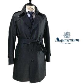 Aquascutum【アクアスキュータム】日本製AQ CURTIS脱着可能ライナー付きシングルトレンチコート撥水加工ダークグレー
