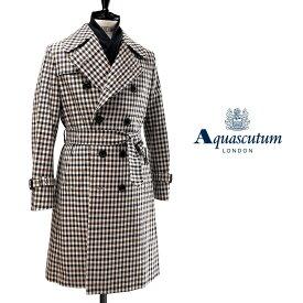 Aquascutum【アクアスキュータム】日本製WELLINGTON トレンチコートクラブチェック撥水加工