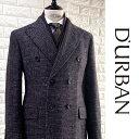 D'URBAN【ダーバン】日本製(イタリア製生地使用)CERRUTI社製生地ダブルチェスターコートハンドトゥースネイビー×ブラウン系