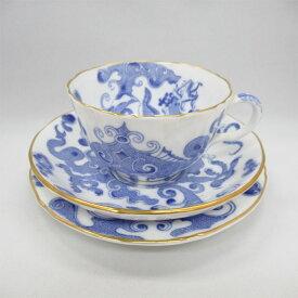 アンティーク トリオ ティーカップ&ソーサー Royal Worcester ロイヤルウースター Blue Dragon 1936-1937年頃 ヴィンテージ 食器 陶磁器 キッチン雑貨 テーブルウェア ティ—セット 茶器