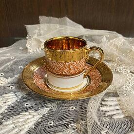 ヴィンテージ デミタス カップ&ソーサー Legle レグル Porcelaine d'Ar リモージュ フランス 1940年頃 金彩 アンティーク 食器 陶磁器 キッチン雑貨 テーブルウェア ティ—セット 茶器