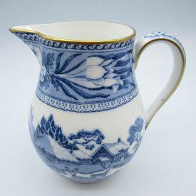 アンティーク食器 ウェッジウッド ミルクジャグ(クリーマー) ブルー&ホワイト 1910-1920年 シカ 藍色 シノワズリ