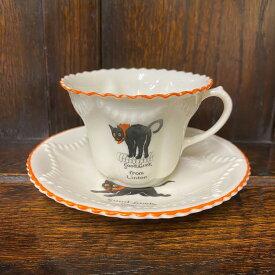 アンティーク カップ&ソーサー J&S ICENI クレステッドチャイナ 黒猫 Good Luck Cat イギリス ヴィンテージ 食器 陶磁器 キッチン雑貨 テーブルウェア ティ—セット 茶器