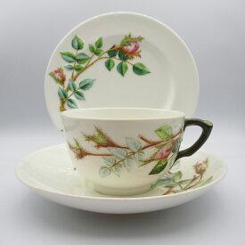 アンティーク トリオ ティーカップ&ソーサー Royal Worcester ロイヤルウースター 1885年頃 ヴィンテージ 食器 陶磁器 キッチン雑貨 テーブルウェア ティ—セット 茶器