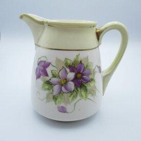 アンティーク食器 オールドノリタケ ミルクジャグ(クリーマー) 1906-1925年 全ハンドペイント(手描き) 花柄・スミレ・バイオレット 金スレ
