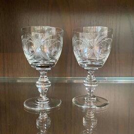 アンティーク ペア シェリーグラス ヴィンテージ 食器 キッチン雑貨 テーブルウェア ガラス