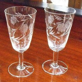 アンティーク ペアグラス ヴィンテージ 食器 ガラス キッチン雑貨 テーブルウェア シャンパン ワイン リキュール