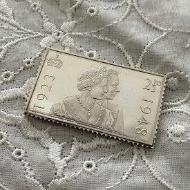 アンティーク 銀製 切手レプリカ エリザベス王妃&ジョージ6世 エリザベス女王 在位25周年記念 ヴィンテージ アニバーサリー メモリアルグッズ 英国王室 925シルバー スタンプ コレクション 25th メダル