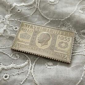 アンティーク 銀製 切手レプリカ ジョージ5世 1935年 エリザベス女王 在位25周年記念 ヴィンテージ アニバーサリー メモリアルグッズ 英国王室 925シルバー スタンプ コレクション 25th メダル