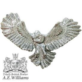 ピンバッジ(ラペルピン/ピンブローチ/ピンズ)スーツ|メンズ・レディース ふくろうB・梟・オウル・鳥|イギリス製 AEW社 ピューター/錫 [メール便OK]