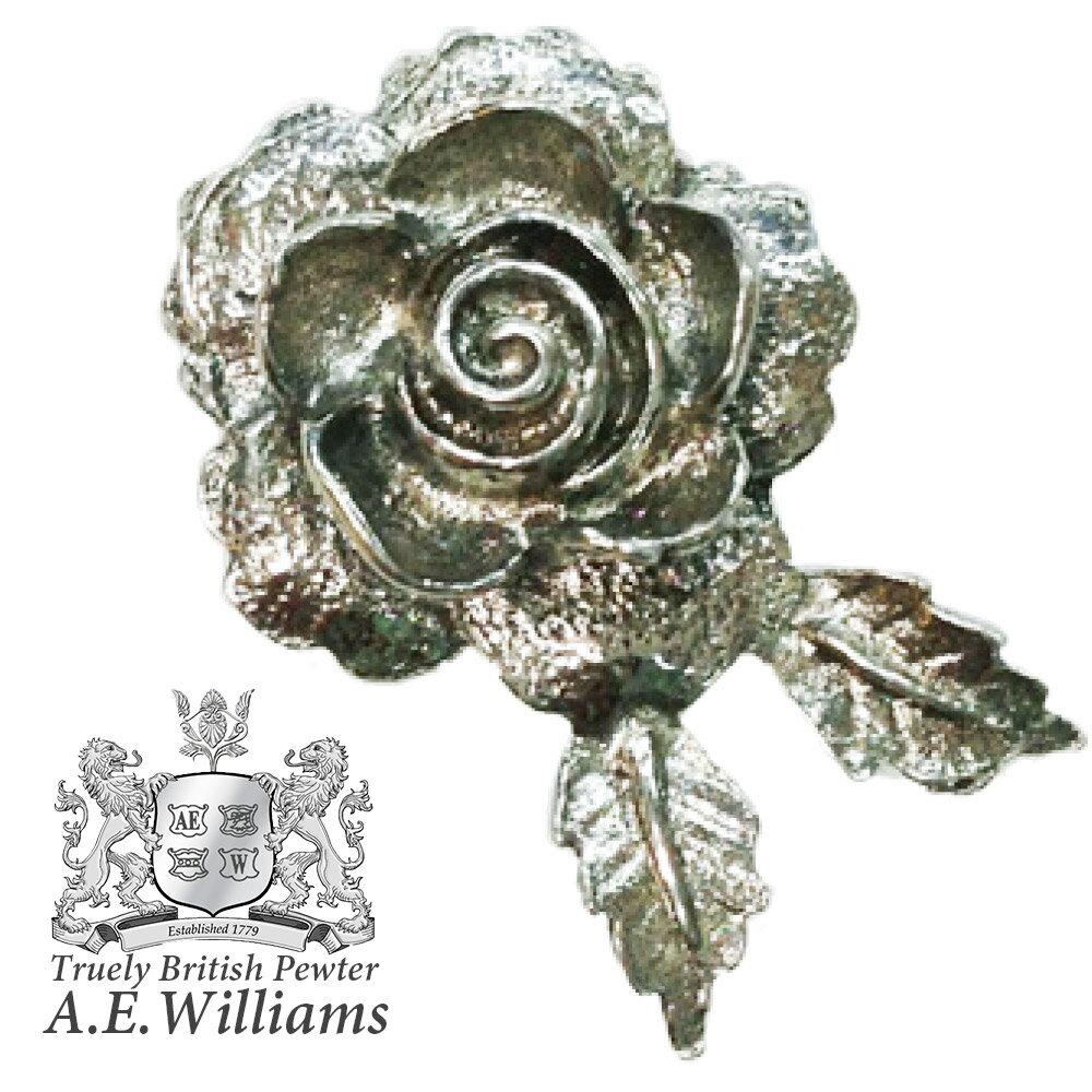 ピンバッジ(ラペルピン/ピンブローチ/ピンズ)スーツ メンズ・レディース ばら・ローズ イギリス製 AEW社 ピューター/錫 花・薔薇・美しい・イングランドの国花 [メール便OK]
