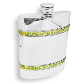 イギリス製 ピューター スキットル ブラスバンド 180ml 6oz 英国 AEW社 ヒップフラスク ボトル 携帯 水筒 アウトドア キャンプ スコッチ ウィスキー 蒸留酒 メンズ ギフト プレゼント 贈り物 ケルト模様